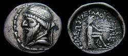 Ancient Coins - KINGS of PARTHIA, Mithradates I, 165-132 B.C. AR Drachm (20 mm, 3.83 gm., 12h), Hekatompylos mint VF