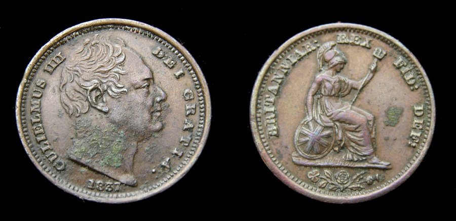 Ancient Coins - 1837 Great Britain Half Farthing For Use in Ceylon King William IV Very Rare in any Condition Some Encrustrations Good VF+