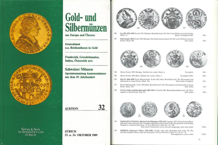 Ancient Coins - Spink & Son Numismatics, Zurich - Auction 32 - Gold und Silber Munzen - October 23-24, 1989 - Gold and Silver Coins - Specialized Collection of Swiss Coins