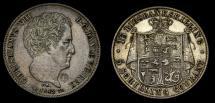 World Coins - 1842 Denmark 16 Rigs Bankskilling 5 Schilling Dual Denomination KM#733 EF Rare