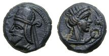 Ancient Coins - KINGS of PARTHIA. Vologases IV. 147-191 A.D. Æ Dichalkos (16 mm, 4.33 gm), Seleukeia on the Tigris mint, Dated Seleukid Era 491 (179/80 A.D.) EF Ex. Freeman & Sear