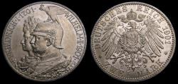 Ancient Coins - Germany 1901A Prussia 2 Mark .900 .3215 Oz. 200 Years of Prussian Kingdom KM#525 UNC 6347