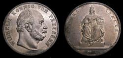 Ancient Coins - Germany 1871A Prussia AR Thaler .900 .5359 Oz. Victory Over France KM#500 Toned UNC 6340