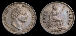 World Coins - Great Britain 1837 4 Pence Groat King William IV SB-3837 Toned AU+
