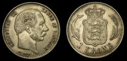 World Coins - Denmark, Christian IX Krone 1876 HC/CS Good VF+/aEF KM797.1. Scarcer, low mintage date.