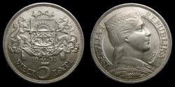 World Coins - Latvia Silver 5 Lati 1931 AU++ KM 9