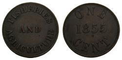 Ancient Coins - 1855 Tokens of Prince Edward Island Fisheries and Agriculture One Cent PE-6A1 EF