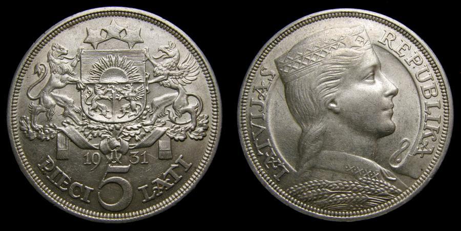 Ancient Coins - Latvia Silver 5 Lati 1931 AU++ KM 9