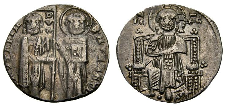 World Coins - Italy, Venice, Doge Jacopo Contarini, 1274-1280 A.D., AR Grosso Matapan (19 mm, 1.91 gm., 6h), Christ Enthroned VF