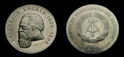 World Coins - Germany 1970 Democratic Republic 20 Mark, Freidrich Engels, KM-28, BU