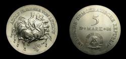 World Coins - Germany 1984 Democratic Republic 5 Mark, Death of Ludwig Adolf Wilhelm Freiherr von Lutzow, KM-98, BU