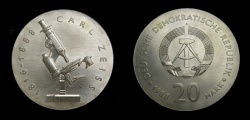 World Coins - Germany 1988A Democratic Republic 20 Mark, Carl Zeiss, KM-124, BU,  Rare