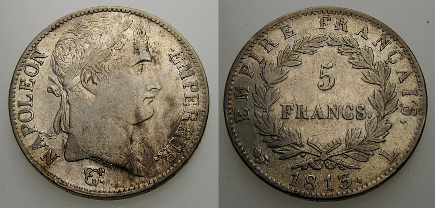 Ancient Coins - FRANCE 1813 L, Napoleon Bonaparte, 5 Francs, Napoleon As 1st Emperor, VF
