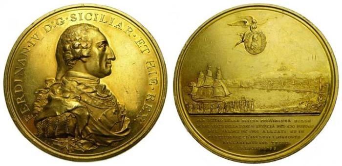 Ancient Coins - George III, Lord Nelson Appointed Duke of Bronte and Ferdinand IV, as Re-established King of the Two Sicilies, 1799, Bronze Gilt Medal by C.H. Küchler (48 mm., 52 gm., 12h) EF RARE