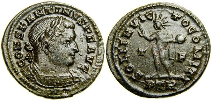 Ancient Coins - CONSTANTINE I The Great, 307-337 A.D. Æ Follis (23 mm, 5.19 gm, 5h), Treveri (Trier) mint, Struck 310-313 A.D. Good VF
