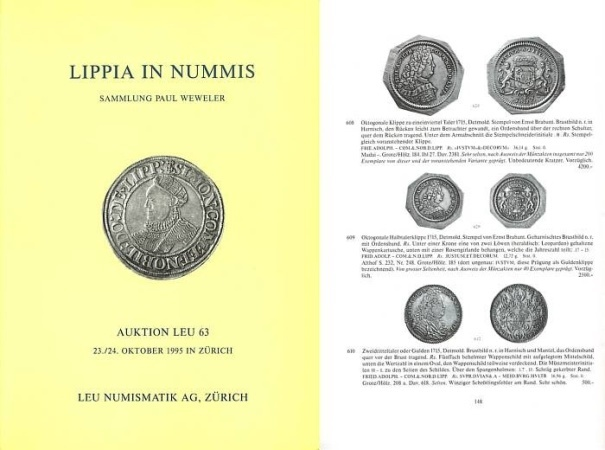 Ancient Coins - Leu Numismatik 63 - October 23-24, 1995 - Lippia in Nummis - Sammlung Paul Weweler - Choice Collection of Coins, Medals and Orders Related to the Principality of Lippe