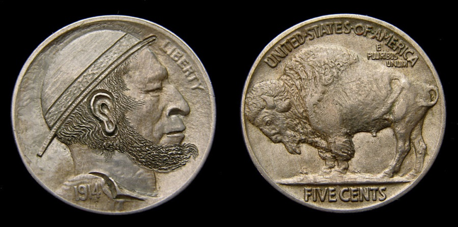 Ancient Coins - United States Hobo Nickel Carved by Peanut Ear Classic on 1914 Indian Head Choice