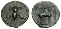 Ancient Coins -  IONIA, Ephesos, Circa 200-150 B.C. AR Drachm (19 mm, 3.95 gm., 12h), Sokratis, magistrate Toned EF Very Rare