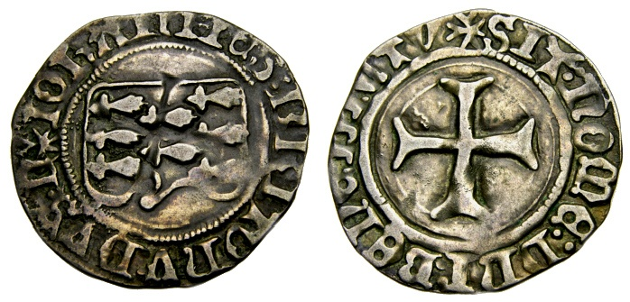 World Coins - FRANCE, Provincial, Bretagne, Jean V (VI) de Montfort, 1399-1422, Silver Blanc à la targe (27 mm, 2.85 gm., 2h), Nantes mint Good VF