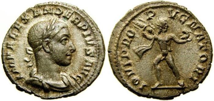 Ancient Coins - SEVERUS ALEXANDER, 222-235 A.D. AR Denarius (20 mm, 2.84 gm., 12h), Struck 232-235 A.D. Good VF+ Jupiter