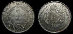 World Coins - Bolivia 1872 Boliviano Potosi Mint PTS FE .900 Silver .7234 OZ ASW KM# 155.4 GEM BU