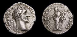 Ancient Coins -  Antoninus Pius AD 138-161, AR Denarius (18 mm, 2.92 g, 6h), Rome Mint, Struck AD 157-158 VF