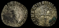 World Coins - France Royal Charles VI 1380-1422 Paris Mint Rare Duplessy Struck March 1419 AR (2.19g, 24mm, 2h) F/VF