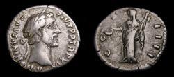 Ancient Coins - Antoninus Pius, AD 138-161, AR Denarius (18 mm, 3.32 g, 6h), Rome mint, Struck circa AD 145-147 VF