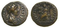 Ancient Coins - PHRYGIA, Eumeneia, Agrippina Junior, Augusta, Mother of Nero,AD 50-59. Æ 16mm (3.79 g, 12h), Bassa Kleonos, Archierea VF Ex Brian Kritt