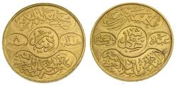 Saudi Arabia, Hejaz, Husain ibn Ali, Gold Dinar (22 mm, 7.28 gm), Hashimi AH 1334 Year 8 1922, Mecca mint, KM31, One-year type AU or Better