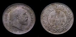 World Coins - British India 1909 Half Pice Calcutta Mint KM#500 MS-64 Red
