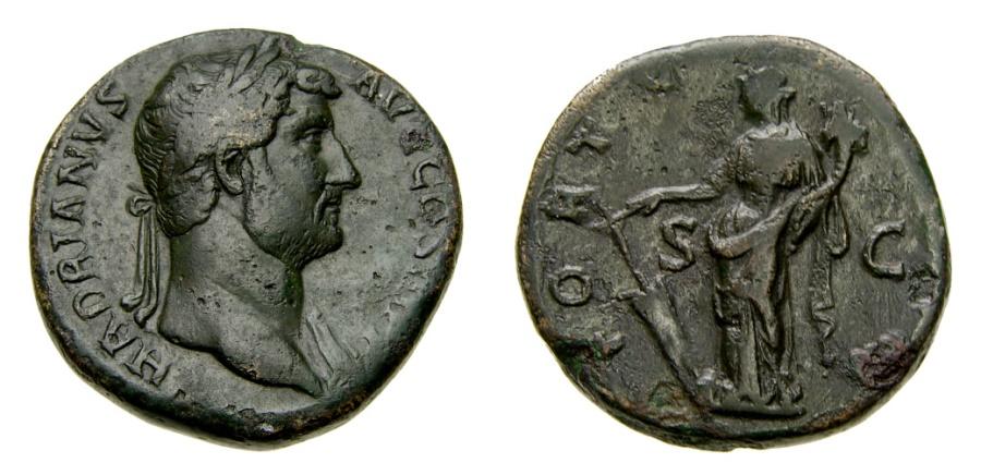 Ancient Coins - Hadrian, A.D. 117-138, Æ Sestertius (30 mm, 24.90 gm., 11h), Rome mint, Struck circa A.D. 134-138 VF