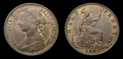 World Coins - 1887 Great Britain Half Penny S-3956 EF