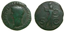 Ancient Coins - CLAUDIUS, 41-54 A.D. Æ As (29 mm, 10.54 gm., 7h), Rome mint Minerva aVF Patina