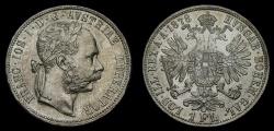 World Coins - Austria 1878 Florin .900 Silver .3571 oz KM#2222 UNC