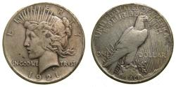 Us Coins - United States, Silver Peace Dollar 1921 Good VF+ or Better Scarce Key Date Coin