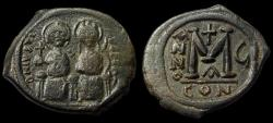Ancient Coins - Byzantine Empire, Justin II with his wife Sophia 565-578 AD, Æ Follis (31 mm, 12.98 g, 1h), Constantinople mint, 1st officina, regnal year 6 (569-570), Good VF+