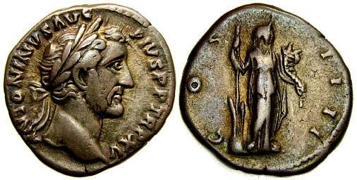 Ancient Coins - ANTONINUS PIUS, 138-161 A.D. AR Denarius (18 mm, 3.54 gm., 6h), Struck 151-152 A.D. Good VF Fortuna