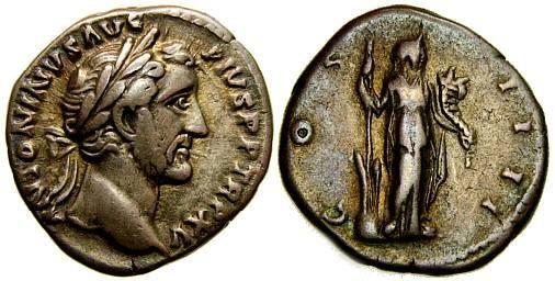 Ancient Coins - ANTONINUS PIUS, 138-161 A.D. AR Denarius (18 mm, 3.54 gm., 6h), Struck 151-152 A.D. Good VF Fortuna