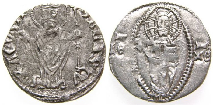 Ancient Coins - Dalmatia, RAGUSA - Dubrovnik, Republic, Silver Grosso (1.18 gr., 18 mm.), Late 14th Century, aVF