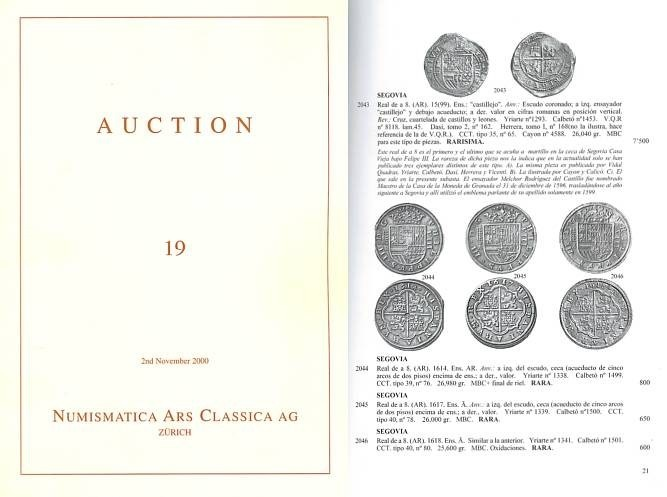 Ancient Coins - Numismatica Ars Classica (NAC) Auction 19 - November 2, 2000 - Importante Coleccion de Monedas Espanolas - Important Coins from Spain and Spanish Colonies