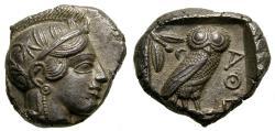 Ancient Coins - ATTICA, Athens, Circa 454-404 B.C. AR Tetradrachm (25 mm, 17.03 g, 8h) EF Owl Athena
