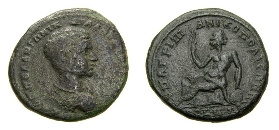 Ancient Coins - MOESIA INFERIOR, Nicopolis ad Istrum, Diadumenian, as Caesar, A.D. 217-218, Æ 27mm (12.89 gm., 6h). Agrippa, consular legate aVF