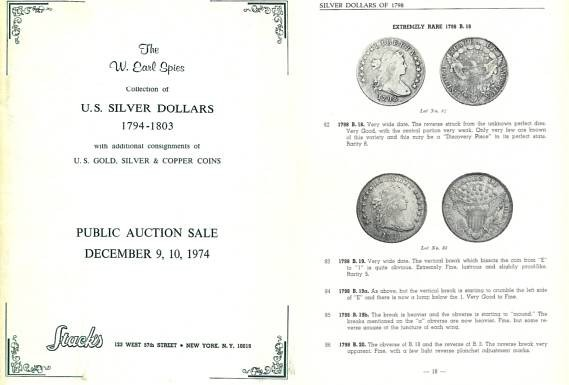 US Coins - Stack's Public Auction Sale - December 9, 10, 1974 - The W. Earl Spies Collection of U.S. Silver Dollars 1794-1803 - Other Consignments - PRL