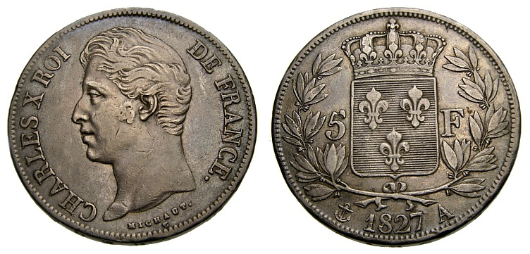 Ancient Coins - FRANCE 1827 A, 5 Francs, EF Condition