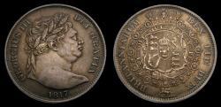 World Coins - Great Britain 1817 Half Crown Bull Head Portrait Choice Original Toning S-3788 AU+