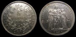 World Coins - France, 1873 A Silver 5 Francs KM# 820.1 .900 Silver .7234 oz ASW BU