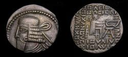 Ancient Coins - KINGS of PARTHIA, Vologases I, Second reign, circa AD 58-77. AR Drachm (18 mm, 3.46 g, 12h), Ekbatana mint Good VF