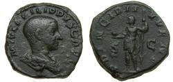Ancient Coins -  Philip II, As Caesar, A.D. 244-247, Æ Sestertius (30 mm, 19.47 gm., 12h), Rome mint, A.D. 245 VF