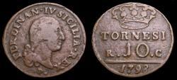Ancient Coins - Italy 1798 Kingdom of Naples 10 Tornes I KM#51 Good/VF 6356